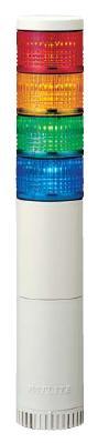 パトライト(PATLITE) LED薄型小型積層信号灯 LE-420FBW 4段 点灯/点滅/ブザー AC220V 50Ф 直取付け 赤・黄・緑・青 送料無料