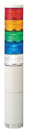 パトライト(PATLITE) LED薄型小型積層信号灯 LE-520FBW 5段 点灯/点滅/ブザー AC220V 50Ф 直取付け 赤・黄・緑・青・白 送料無料