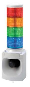 パトライト(PATLITE) LED積層信号灯付き電子音報知器 LKEH-420F AC220V 4段  (色、音色お選びいただけます。) 送料無料