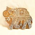 インド 象さん木版壁掛け(一部欠けあり)
