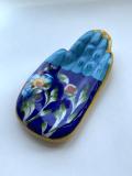 ジャイプールブルーポタリー ハンドお香立て 水色×紺色