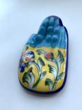 ジャイプールブルーポタリー ハンドお香立て 水色×黄色
