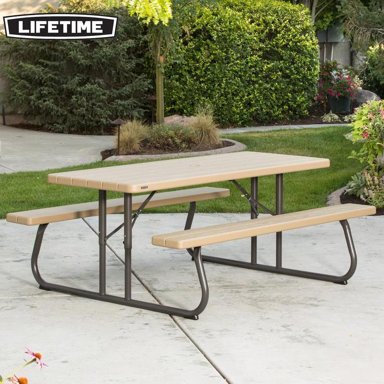 ライフタイム 木目調ピクニックテーブル (LIFETIME picnictable) 【大型宅配便Y・代金引換不可】