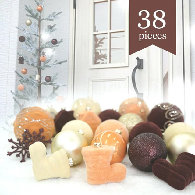 DEPOS クリスマスオーナメントセット ブラウンゴールド 38点セット (DEPOS Christmas ornament   Brown gold 38set)