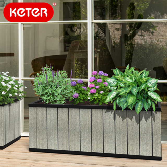 ケター セコアプランター長角131cm (KETER Sequoia planter L) 【大型宅配便】