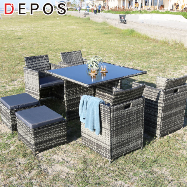 DEPOS ラタンダイニングテーブル9点セット (DEPOS Rattan DiningTable 9set)【大型宅配便】