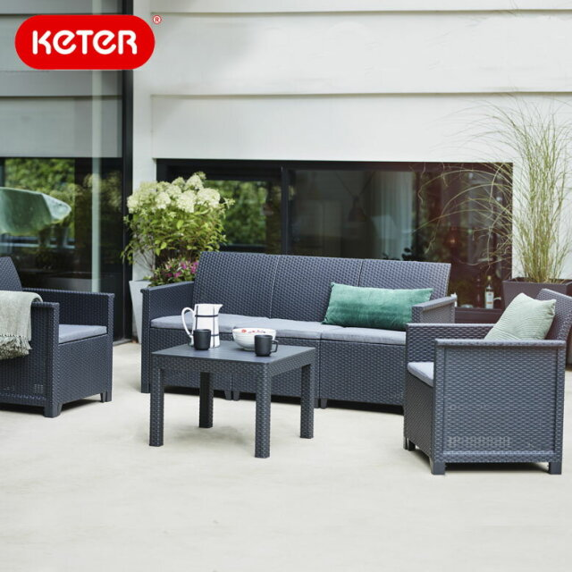 ケター エマ 3人掛けソファ テーブル4点セット (Keter  Emma 3 seat set hnw1) 【大型宅配便・代金引換不可】