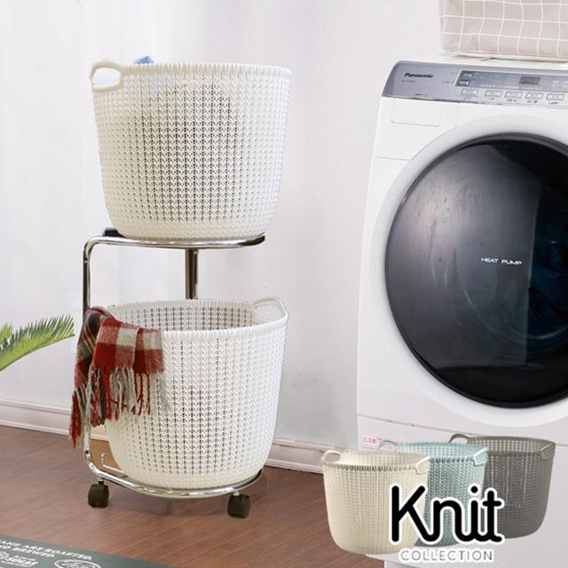 先行予約 ランドリーワゴン01 カーバーニットバスケット3点セット (CURVER Knit round basket 30L×2 & laundry wagon)【送料無料】