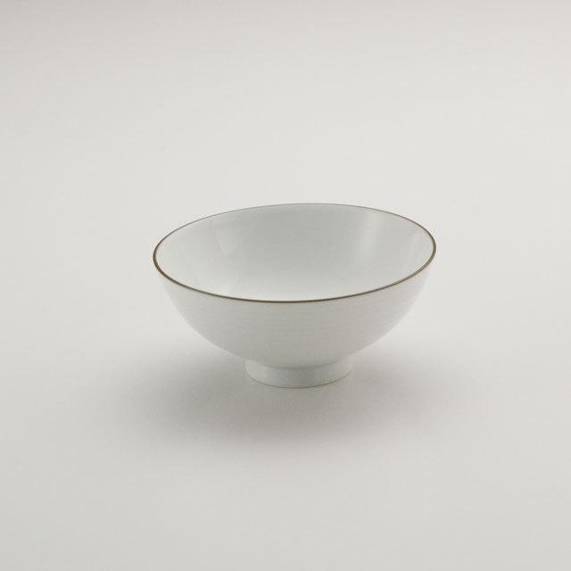 白磁千段 4寸飯碗