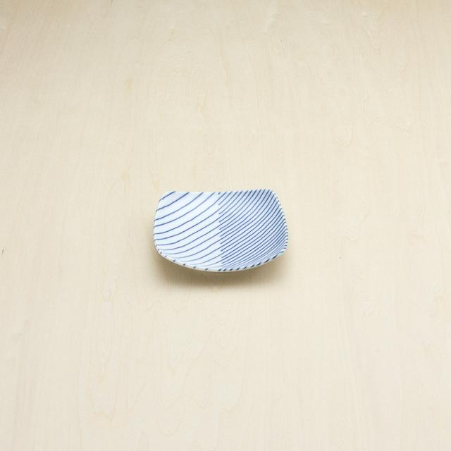 重ね縞 反角小皿