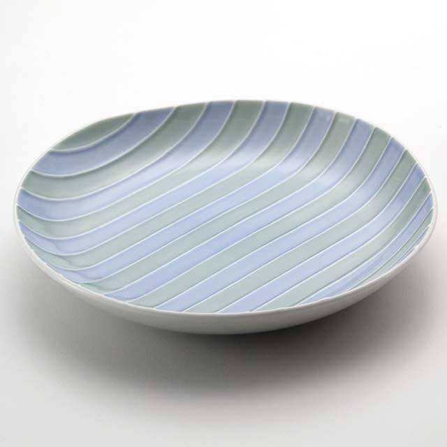 シェル多用皿A/白磁(ブルーとグリーン)
