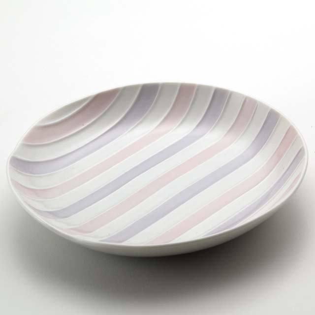 シェル多用皿A/白磁(ピンクとブルー)
