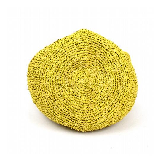 ラフィア ポットカゴバッグ 丸底 マダガスカル製 ナチュラル 黄色 生成 ベージュ