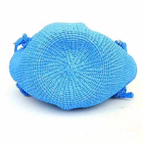 カゴバッグ サイザルバッグ ショルダー 丸底 幅広 プラスチック製 肩がけ