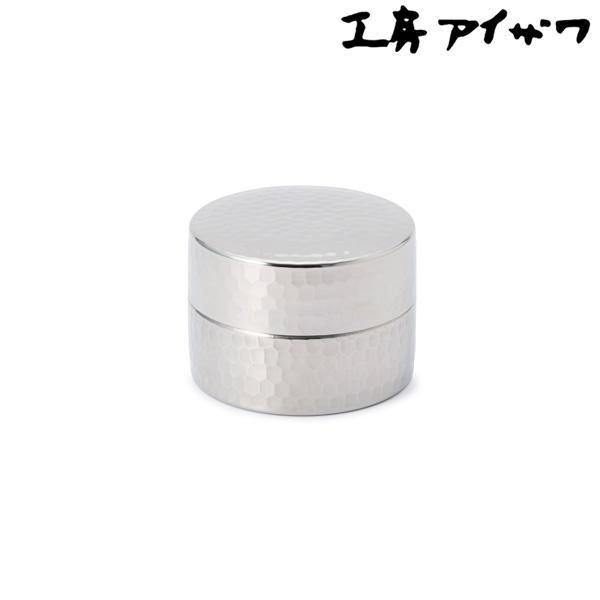 ステンレス製 継ぎ目のない茶筒 ハーフ 槌目 工房アイザワ 日本製 茶葉 コーヒー 乾物 保存容器 小さめ