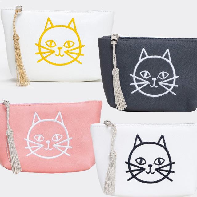 猫刺繍 ミニポーチ 小物入れ ねこ ネコ ファティマモロッコ Fatima Morocco ホワイト ピンク ブラック