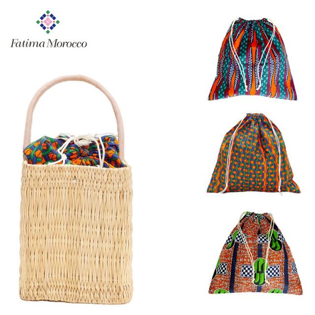 ファティマモロッコ Fatima morocco アフリカンプリント バッグインバッグ インナーバッグ 巾着