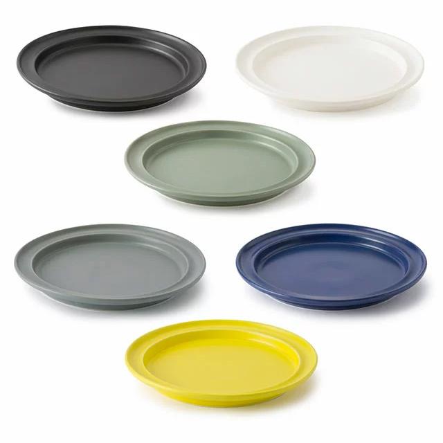 かもしか道具店7プレート 7寸サイズ 全6色 黒/白/グリーン/グレー/青/黄 リム皿 半磁器 食器 日本製