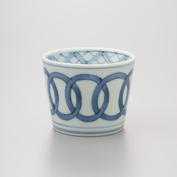 染付輪つなぎ そば猪口 渓山窯 そばつゆ デザート アイスクリームカップ 小鉢 陶器 日本製