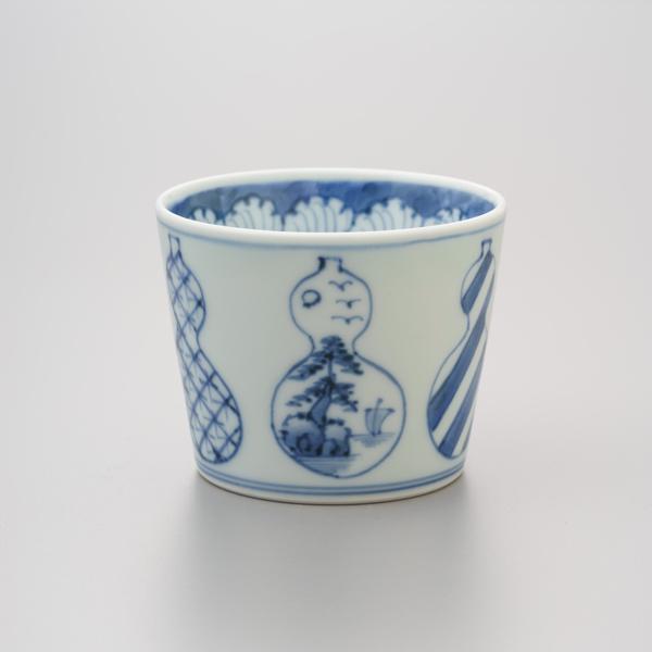染付並瓢(無病息災) そば猪口 渓山窯 そばつゆ デザート アイスクリームカップ 小鉢 陶器 日本製