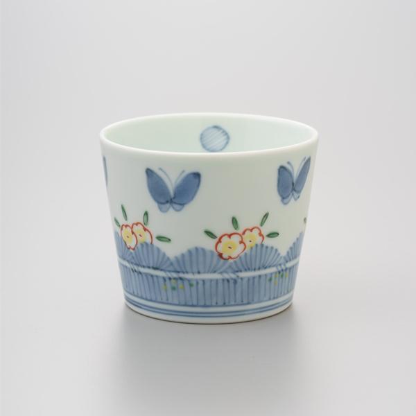 染錦垣根に蝶 そば猪口 渓山窯 そばつゆ デザート アイスクリームカップ 小鉢 陶器 日本製