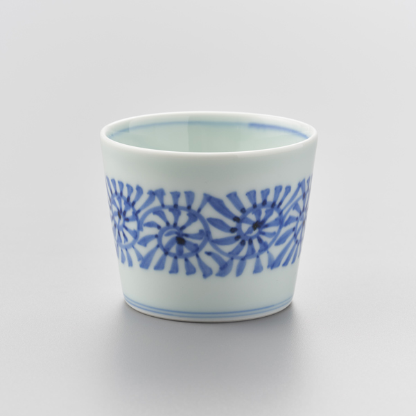 染付蛸唐草(帯) そば猪口 渓山窯 そばつゆ デザート アイスクリームカップ 小鉢 陶器 日本製