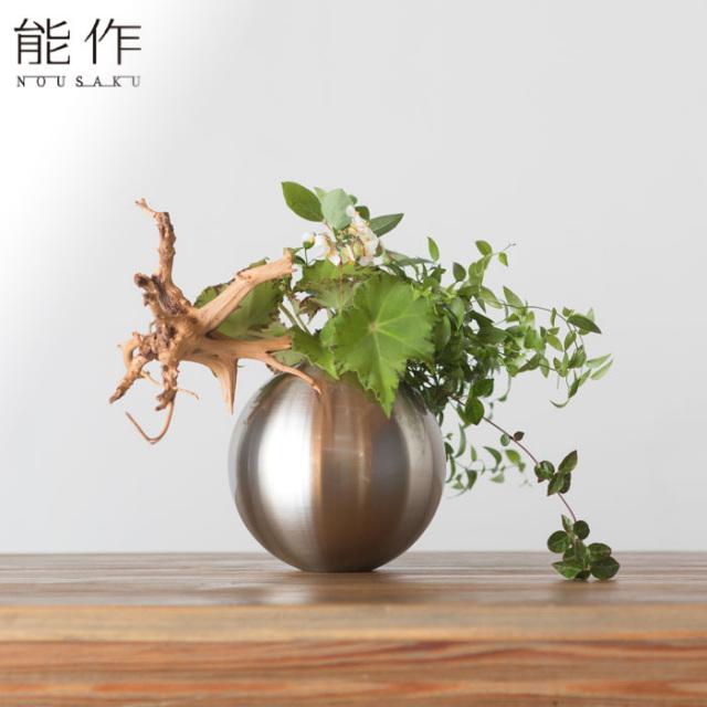 能作 真鍮のフラワーベース TAMA - 銀 - S 花器 花びん おしゃれ 日本製 ギフト