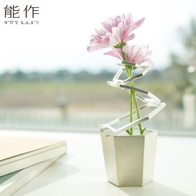 変形できる一輪挿し フラワーベース 錫 HOOP 能作 花器 花びん おしゃれ 日本製 ギフト