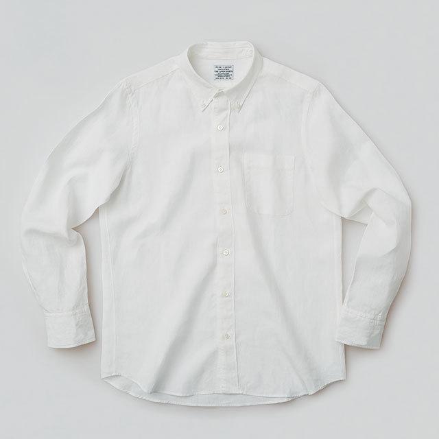 THE フレンチリネンシャツ 厚地で透けにくい ホワイト 白 メンズ レディース THE LINEN SHIRTS