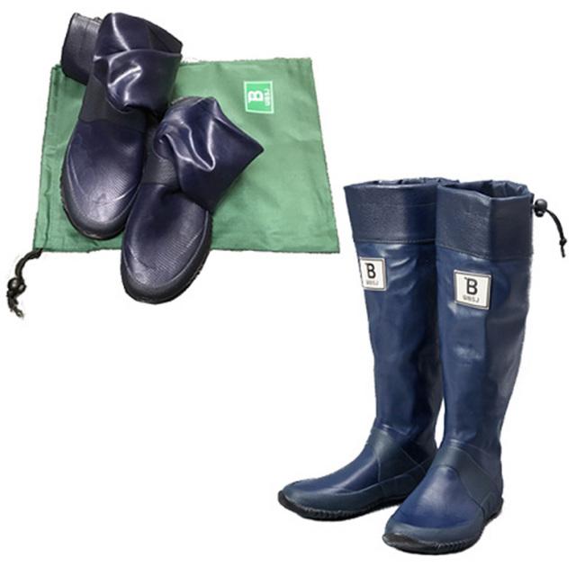 日本野鳥の会 バードウォッチング長靴 限定色 ネイビー レインブーツ メンズ レディース 軽くて折り畳み可能