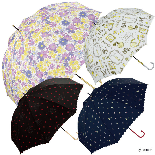 【Wpc】ディズニー 傘 晴雨兼用 UVカット プリンセス  白雪姫 オーロラ姫 ラプンツェル アリエル ベル