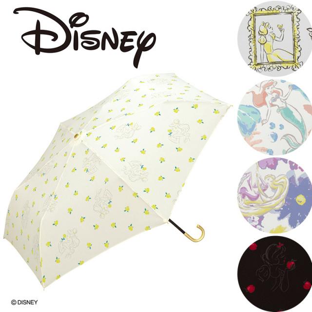【Wpc】ディズニー 折り畳み傘 晴雨兼用 UVカット プリンセス  白雪姫 オーロラ姫 ラプンツェル アリエル ベル