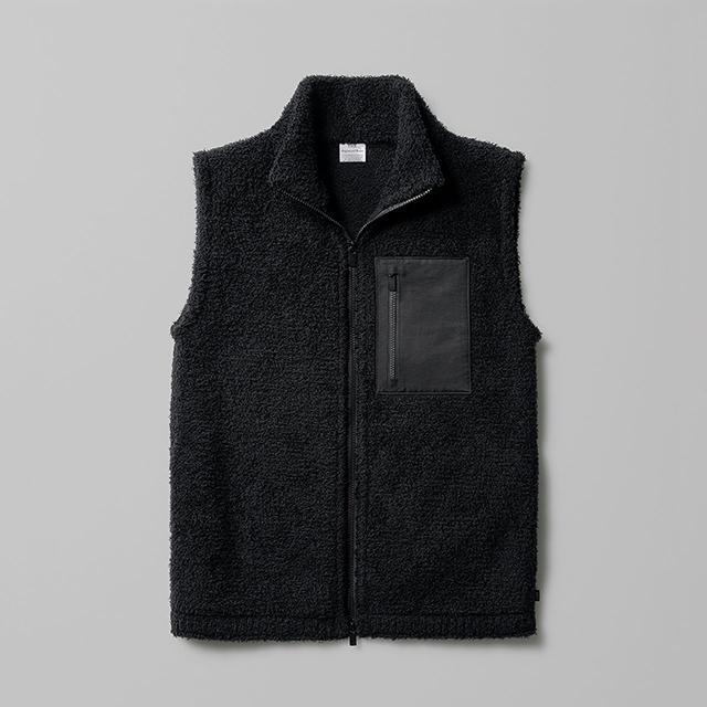 ウールのフリースベスト THE WOOL FLEECE VEST メンズ レディース 日本製 ブラック 黒