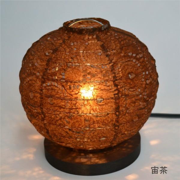 【送料無料】 和風デザイン照明 美濃和紙 丸型テーブルライト ブラウン