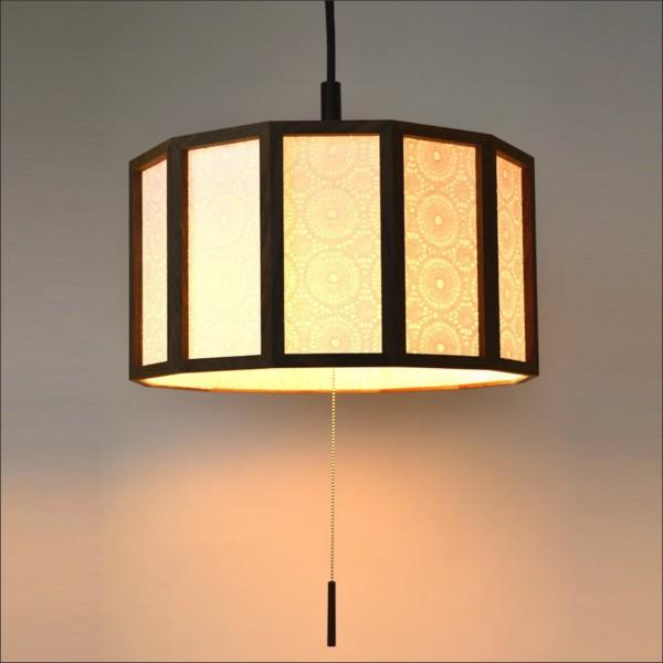 【送料無料】 天井照明 提灯 円筒型モダン木枠ペンダントライト ウォールナット仕様
