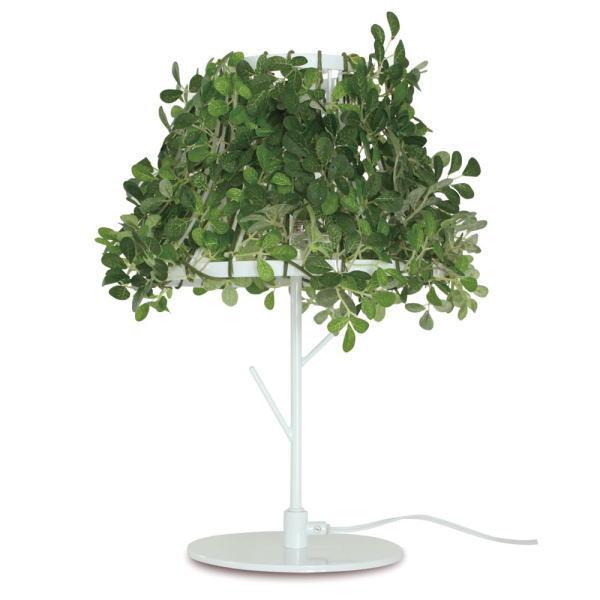 【送料無料】ホワイトフレームと観葉植物のシェード ナチュラルデザイン テーブルライト