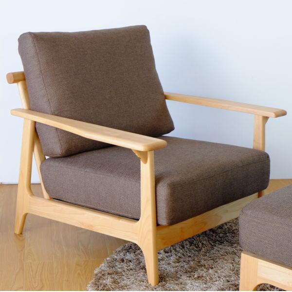 【送料無料】マンションのリビング最適 アルダー無垢材を使用した1人掛け木枠ソファ ブラウン