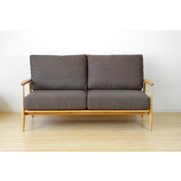 【送料無料】 マンションのリビングインテリアに最適 北欧デザインの木枠ソファ 2.5人掛け ブラウン
