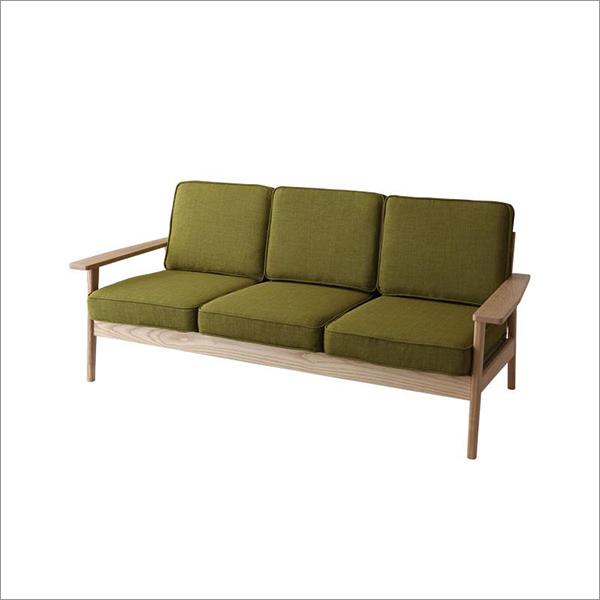 【送料無料】 無垢タモ材使用 ナチュラルデザインの3人掛けソファ
