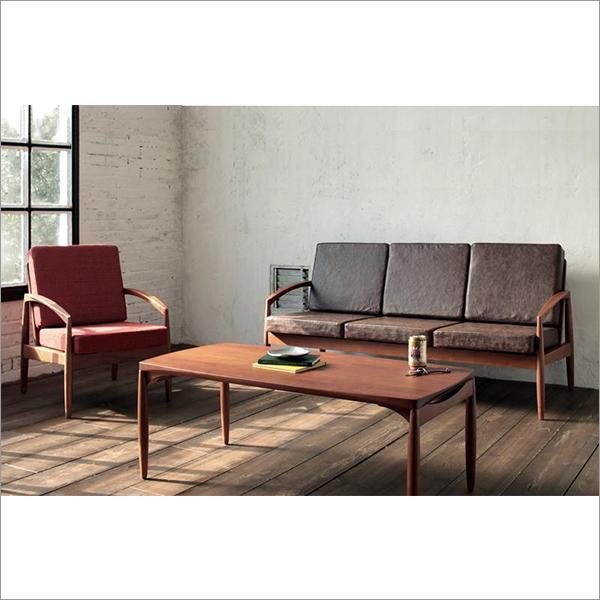 【送料無料】 レトロデザイン家具 応接セット ソファセット 1人掛け+3人掛け+テーブル