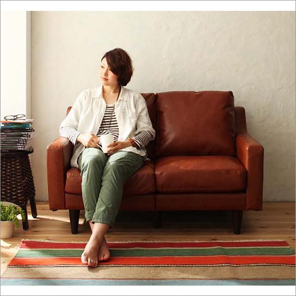 【送料無料】 人気のヴィンテージデザイン おしゃれな2人掛けソファ