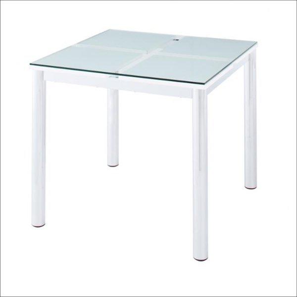 【送料無料】 モダンなガラス天板の2人用 ダイニングテーブル 幅80cm