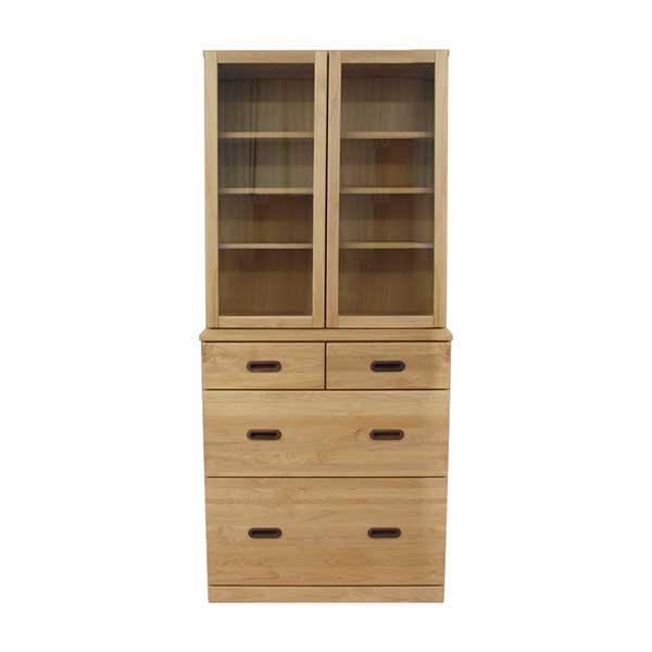 【送料無料】 北欧デザイン アルダーの無垢材を使用した食器棚