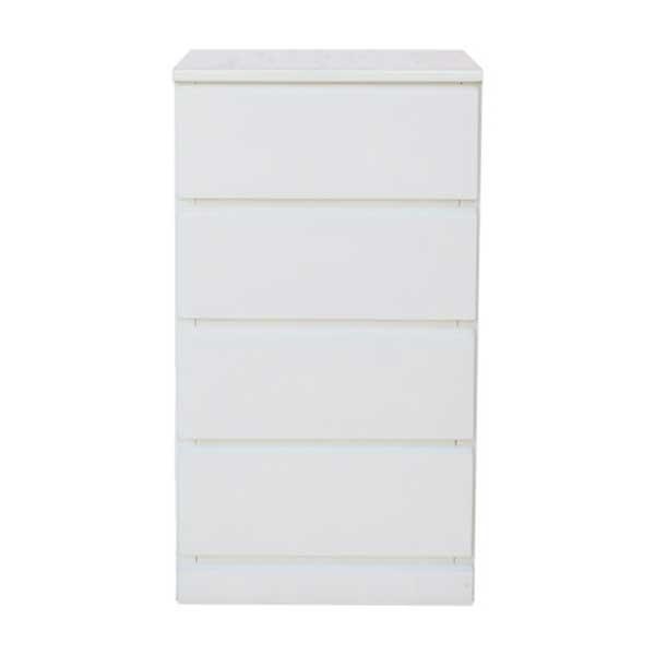 【送料無料】 光沢塗装 モダンなホワイトカラーのスリムチェスト 幅45cm 奥行45cm