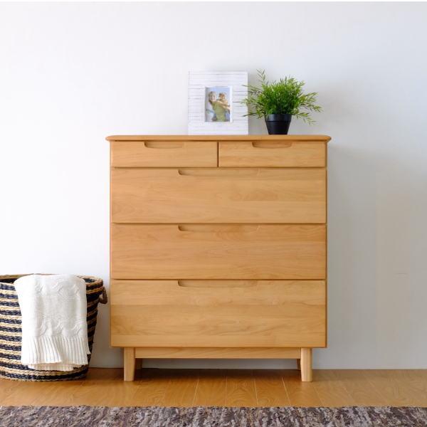 【送料無料】 寝室に最適な無垢材を使用したチェスト 幅80