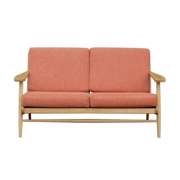 【送料無料】北欧デザイン オレンジの布製張地の木枠ソファ 2人掛け