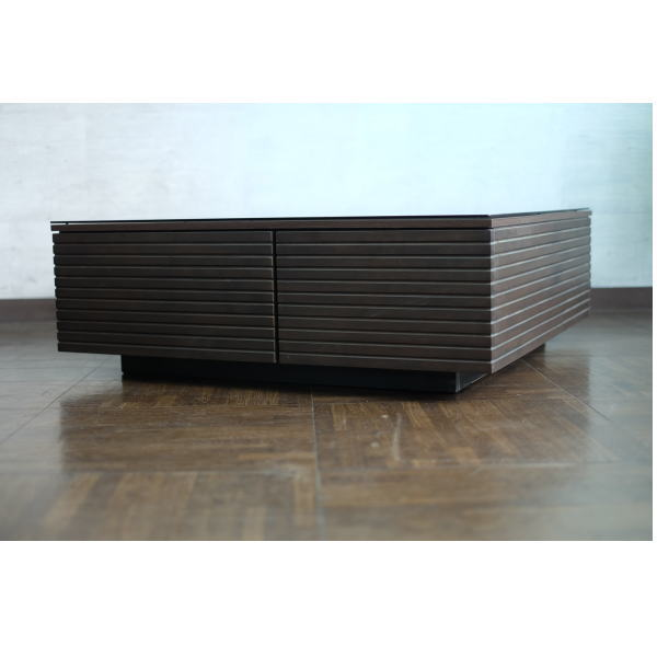 【送料無料】大容量収納 ブラックガラス天板のモダンなデザインのリビングテーブル 幅90