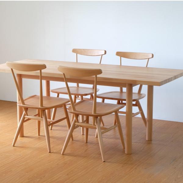 【送料無料】 レストランなどの飲食店に最適 無垢のテーブル幅180とチェア4脚のダイニングセット