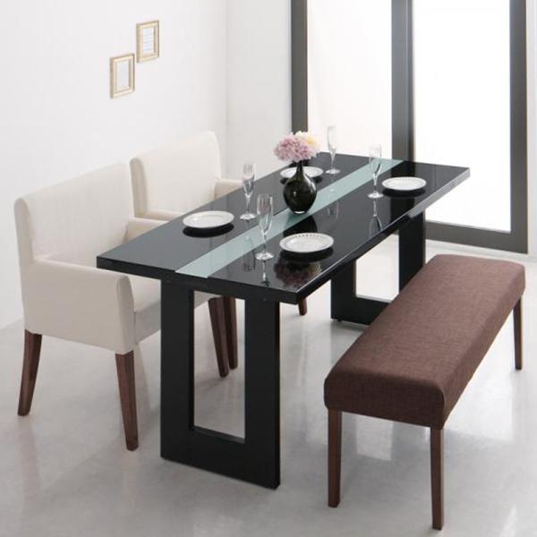【送料無料】 モダンな鏡面ダイニング4点セット (テーブル+チェア2脚+ベンチ1脚) 幅150 ブラック CM