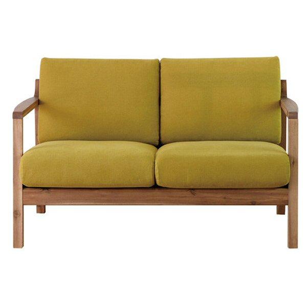 【送料無料】北欧デザインの2人掛けソファ アカシア材とグリーン